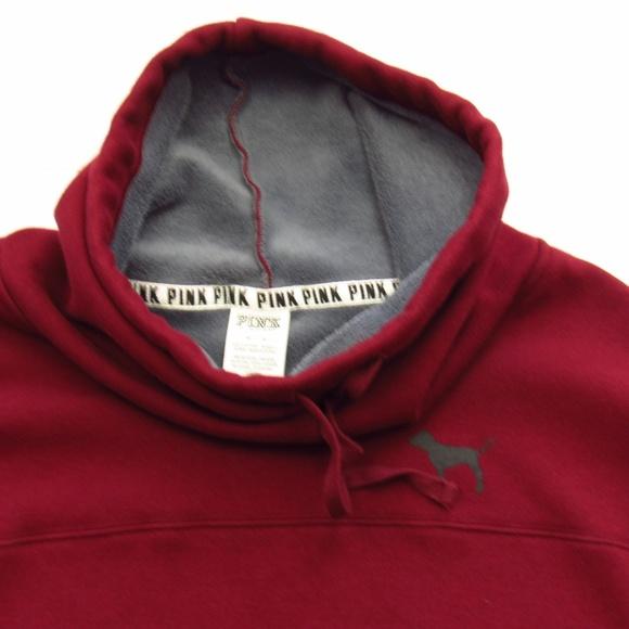 PINK Tunnel Neck Maroon Sweatshirt Hoodie M
